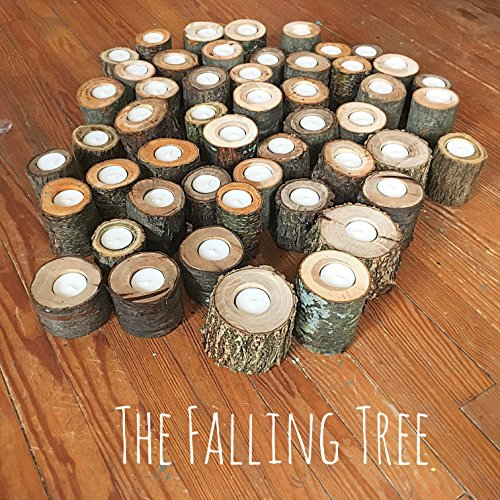 50 Real Log Tea light candle holders in Various Sizes, Perfect for Rustic Wedding centerpieces