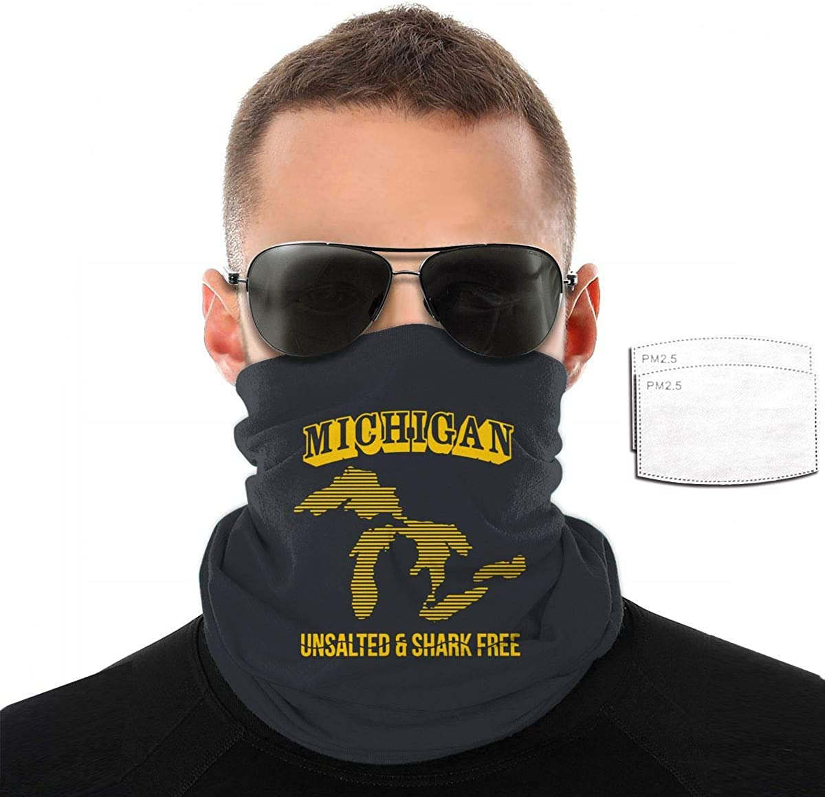 Michigan Unsalted Shark Free Mans Womens Dustproof Mouth Mask Breathable Scarf with Filter