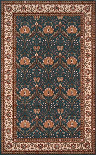 Momeni Rugs PERGAPG-12TEB3050 Persian Garden Collection, 100% New Zealand Wool Traditional Area Rug, 3' x 5', Teal Blue 100 Traditional Furniture