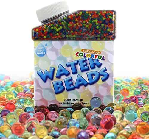 Water Beads, 50000 Icy Soft Water Gel Orbeez Beads Pearls Growing Jelly Balls Splendid Colors for Water beads Pool, Kids Tactile Sensory Toys, Plants Vases, Party and Home Decoration