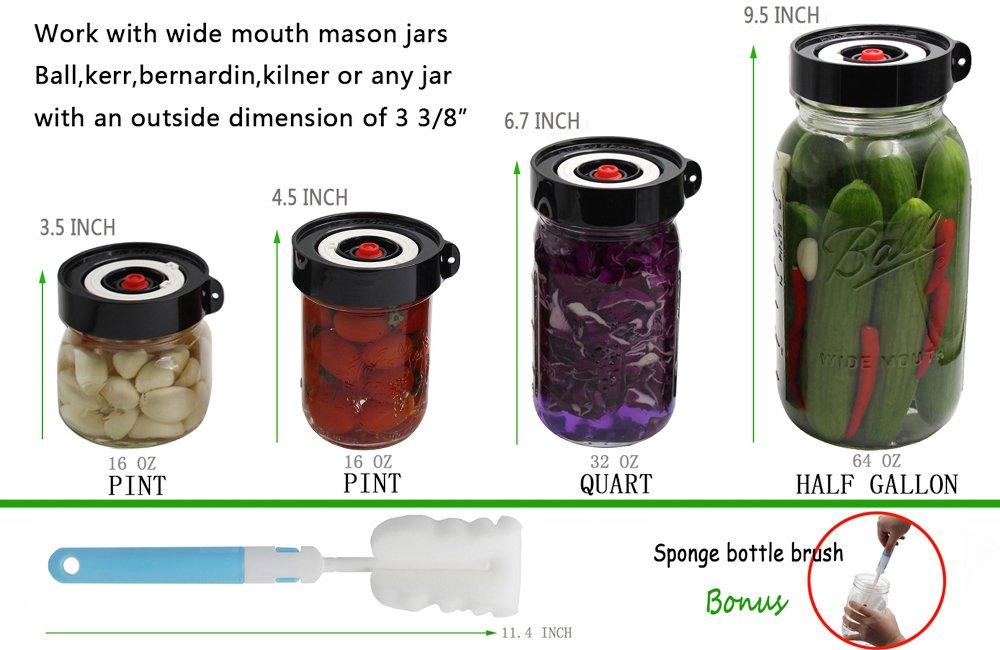 Pickles Or Fermented Probiotic Foods Black AMZUShome Fermenting Lids Kit Waterless Airlock For Wide Mouth Mason Jar Fermentation Not Crock Pots,Make Sauerkraut Kimchi 4 Pack+1 Pump+1 Sponge Brush