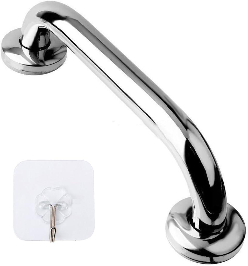12 Inch Stainless Steel Shower Grab Bar - ZUEXT Shower Handle, Bathroom Balance Bar - Safety Hand Rail Support - Handicap, Elderly, Injury, Senior Assist Bath Handle (w/ Self-adhesive Stick-on Hook)