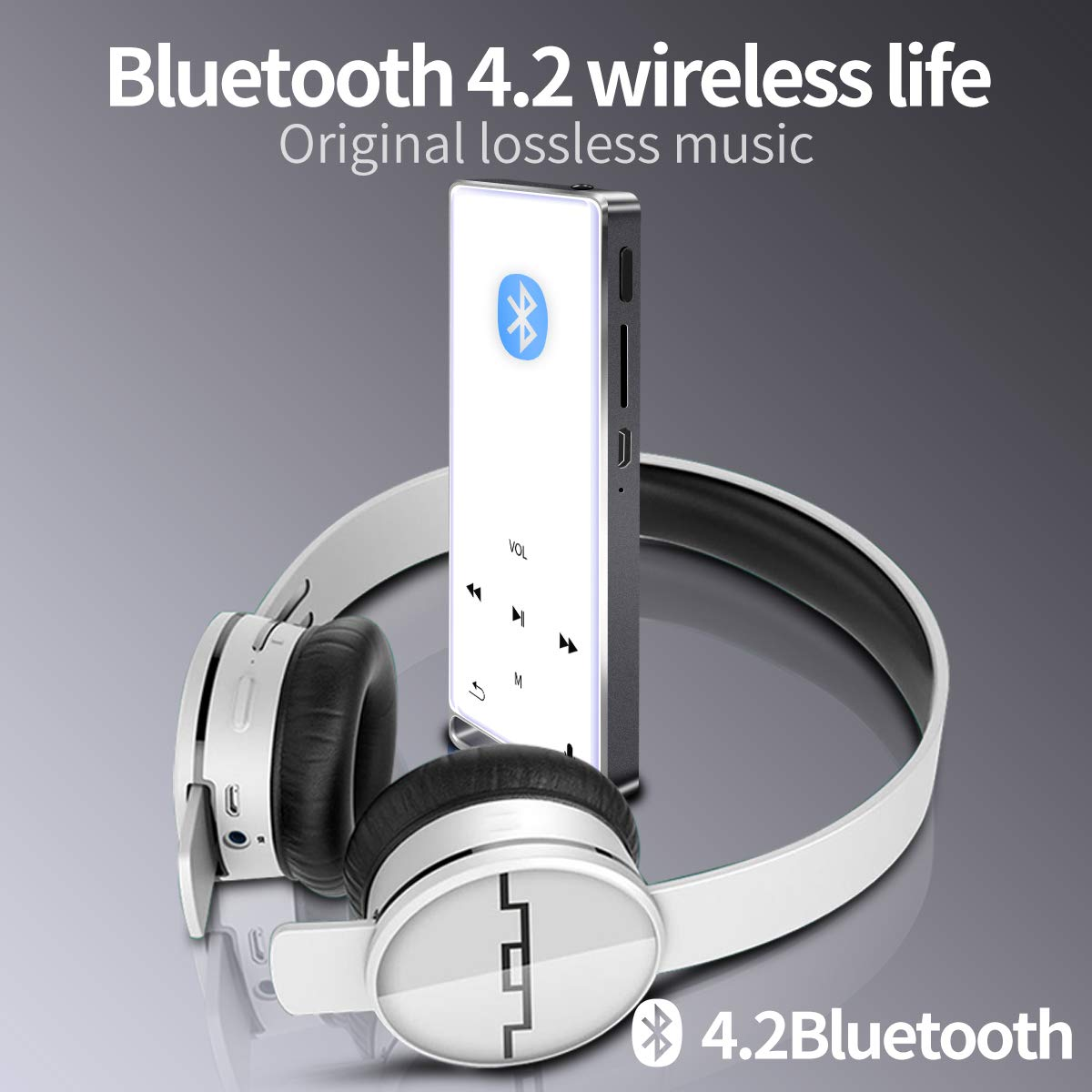 MYMAHDI MP3 Player, Bluetooth 16GB Lossless,FM Radio/Records by one Key, Max up to 128GB,Silver