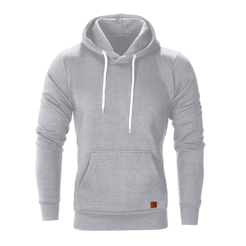 WUAI Men's Lightweight Jacket Hoodie Casual Sweatshirt Slim Fit Solid Color with Front Pocket Outwear Tops(Gray,US Size 2XL = Tag 3XL)