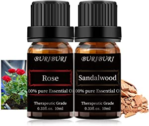 BURIBURI Rose Sandalwood Essential Oil Set - 2 Pack 100% Pure Organic Essential Oils 10ml for Diffuser, Aromatherapy, Massage, Soap Making
