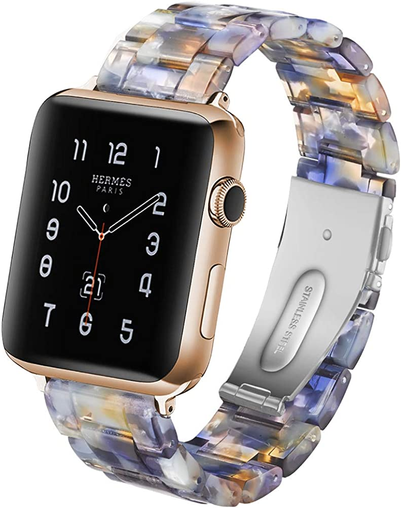 Compatible Apple Watch 38mm 40mm 42mm 44mm Series 6 5 4 3 2 1 SE, Replacement Lightweight Waterproof Band with Resin,Stainless Steel