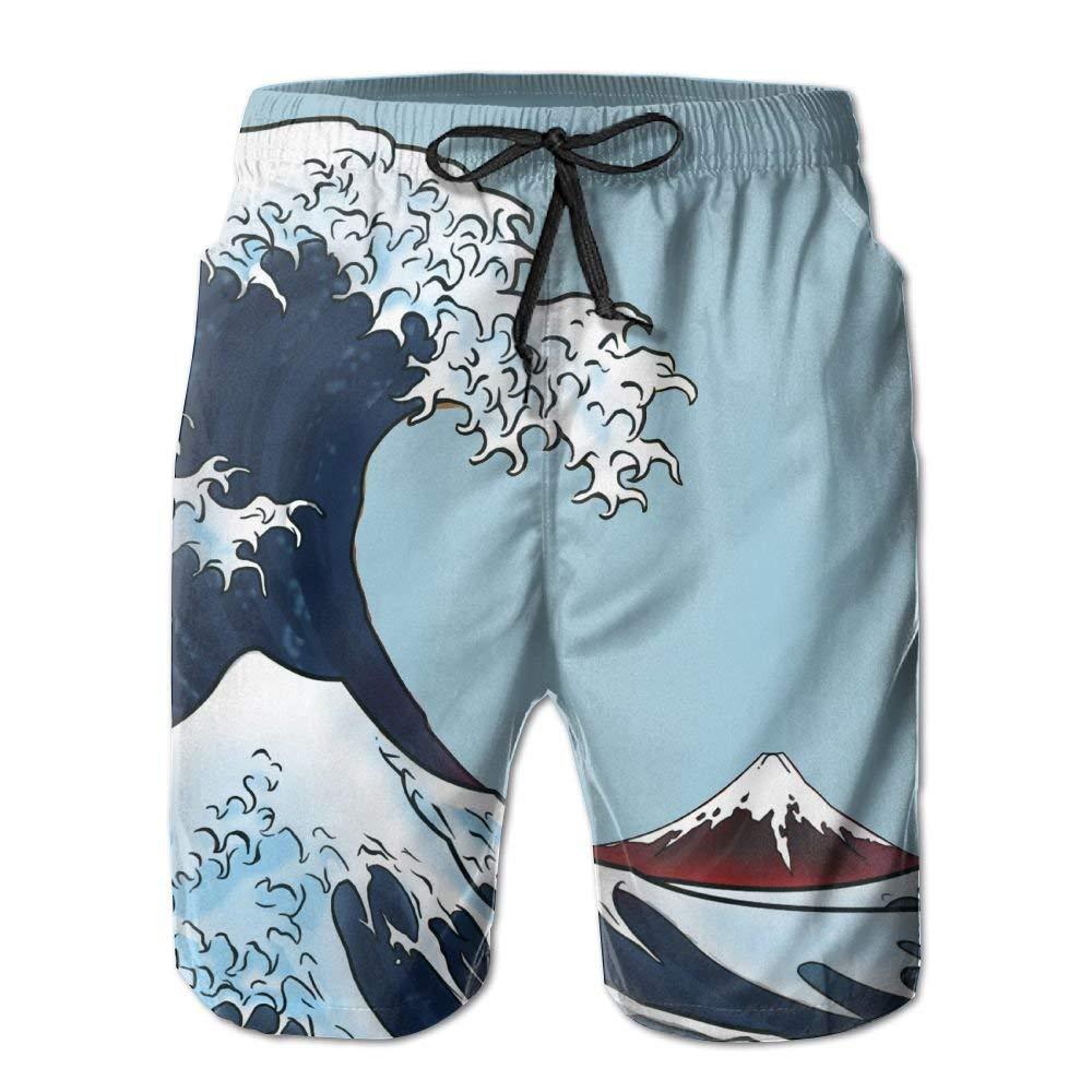 Mens Marvellous Japanese Wave Background Art Boardshort Beach Shorts Swimming Trunks