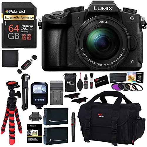 Panasonic LUMIX G85MK 4K Mirrorless Interchangeable Lens Camera Kit, 12-60mm Lens, Polaroid 64GB, 2 Spare Batteries, Charger, Bag and Accessory Bundle by Ritz Camera
