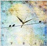 3dRose dpp_164118_1 Birds on a Wire Digital Art by Angelandspot-Wall Clock, 10 by 10-Inch