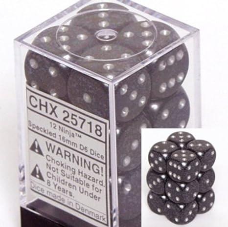 d6 16mm 12 Dice Set Speckled Ninja CHX25718