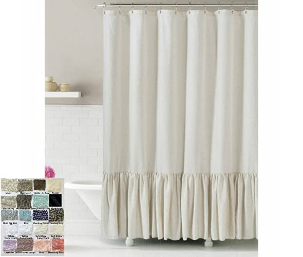 Linen Shower Curtain With Mermaid Long Ruffles Make Your Bathroom Look Appealing 72x72