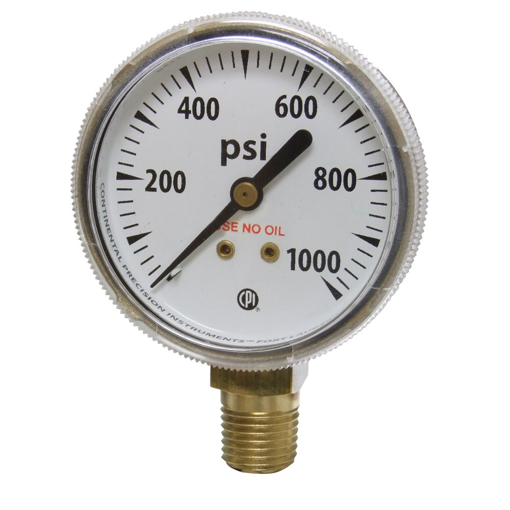 Uniweld G34S Gauge with 0 1000 PSI and 1 4 Inch NPT Bottom Mount Gold Steel Case 2 Inch