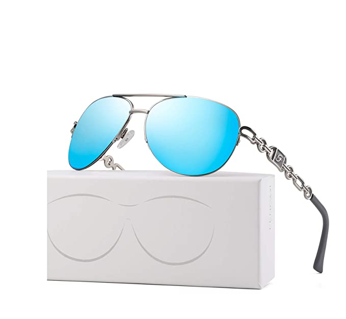 53081736a FENCHI Classic Aviator Sunglasses For Women Metal Frame With Summer Hinges  UV400 0257 (lens: