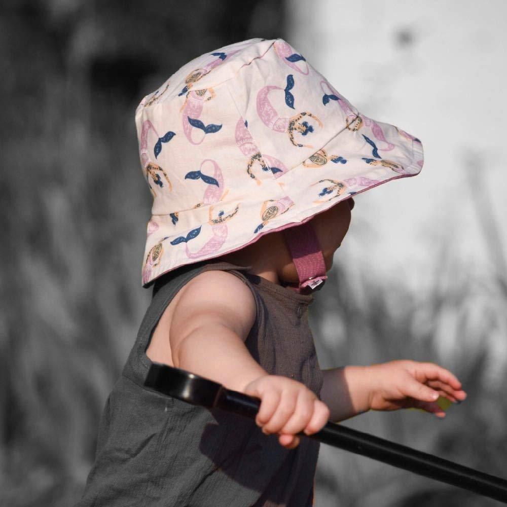 Bucket hat in Hip Mermaids M (18-19.25in, 12-24m) Pink by UB2 Urban Baby Bonnets