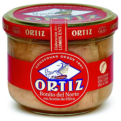 White Bonito Tuna in Olive Oil by Ortiz - 220g Glass Jar (7.76 ounce)