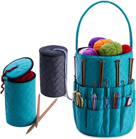 Azure Easy to Carry Yarn and Needle Accessory Tote Bag with Pockets DeNOA Knitting and Sewing Quilted Storage Shoulder Bag