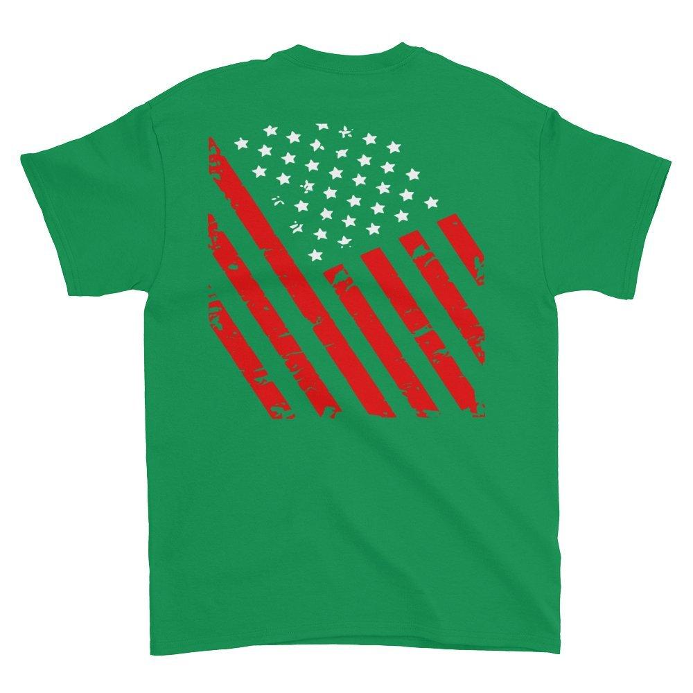 Arkansas Made Distressed American Flag Short Sleeve t-Shirt Irish Green