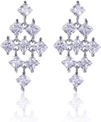 Womens Sterling Silver Round Cubic Zirconia CZ Diamond Rhinestone Long Chain Dangle Earrings Bridal Drop Earrings for Wedding Bride Bridesmaids Crystal Linear Drop Earrings