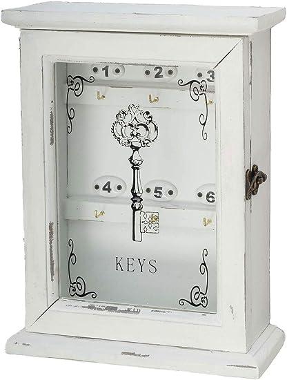 Caja de Llaves en Estilo Antiguo Clave de Llaves de Madera Blanca Elegante: Amazon.es: Hogar