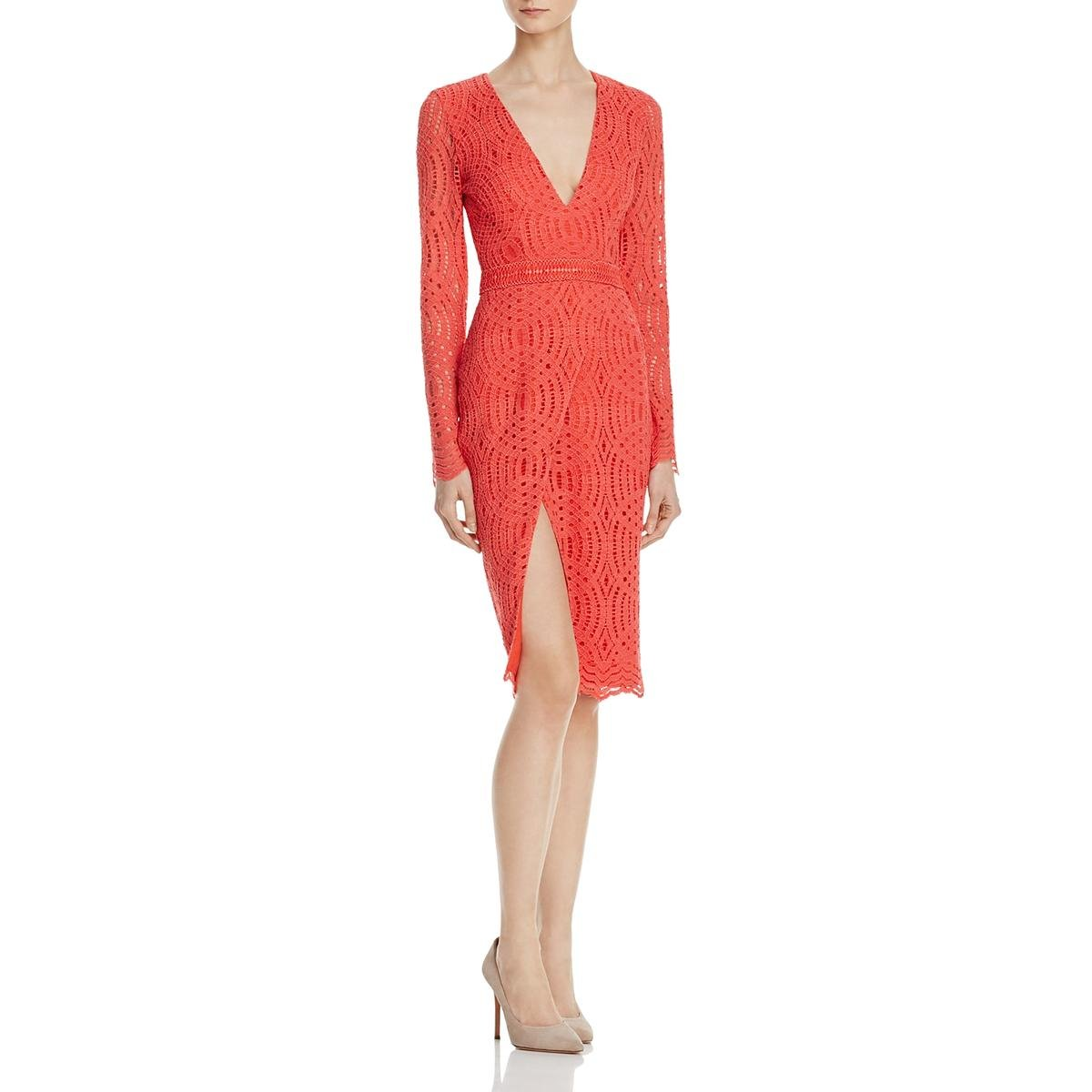 StyleStalker Womens Sabine Lace Sheath Cocktail Dress Orange M