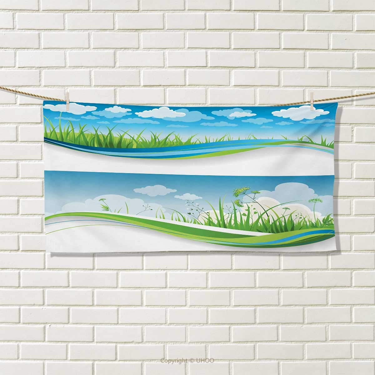 Chaneyhouse Nature,Travel Towel,Fresh Summer Meadow Frames Grassy Green Field Rural Lawn Environment Eco,Quick-Dry Towels,Blue Green and White Size: W 14'' x L 27.5''