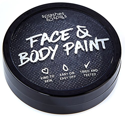 Water Activated Face and Body Paint - Black, 18g Cake Tub - Pretend Costume and Dress Up Makeup by Splashes & Spills