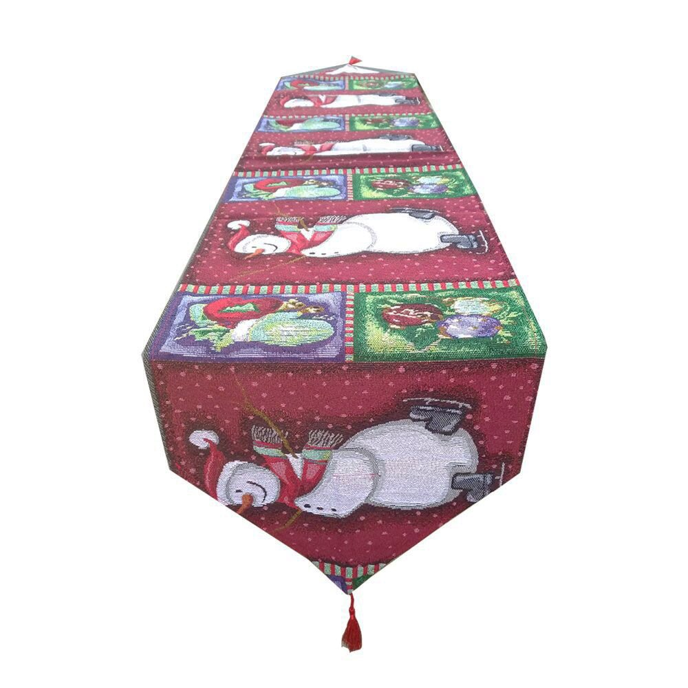 AnciTac Holiday Table Runners 13'' by 70'' Embroidered ''Snowman'' Pattern for Christmas Dinner Party Table Decorations