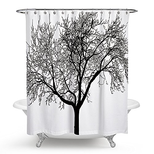 Ecomic Shower Curtain Black and White Tree of Life Ddesign Blackout Draperies Window Solid Grommet Room Panels Waterproof Mold for Bedroom Living Bathroom Room Large (Blackout Party Ideas)