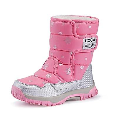 JACKSHIBO Mädchen Mode Warm Schneestiefel Wasserdichte Winterschuhe Kurzschaft Stiefel Snowboots Kinder,Rosa,EU33