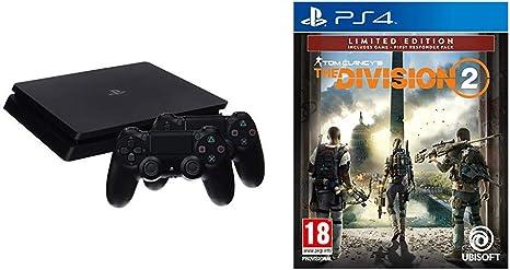 PlayStation 4 (PS4) - Consola de 1 TB + 2 Dual Shock 4 Wireless Controller - nuevo chasis + The Division 2 (Edición Exclusiva Amazon): Amazon.es: Videojuegos