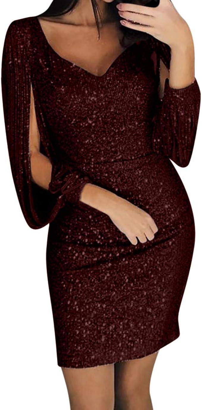 Tefamore Damen Abendkleider Glitzer Kleid Minikleid Festliches
