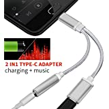 2 in 1 USB-C to 3.5mm Audio Adapter, Nylon Braided 2 in 1 USB Type C Cable Fast Charge to 3.5mm Audio Jack Headphone Adapter Converter Supports Audio and Charging for Motorola MotoZ, Letv (Silver)