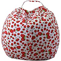 32 Inch Storage Bean Bag - Stuffed Animal Storage Bean Bag Chair | Perfect Storage Solution For Blankets / Pillows / Towels / Clothes (01)