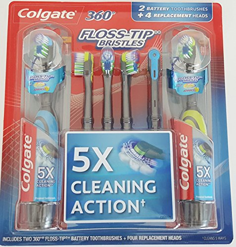 Colgate 360 Floss-Tip Electric (Battery) 2 Toothbrush w/ 4 Replacement Heads Bundle