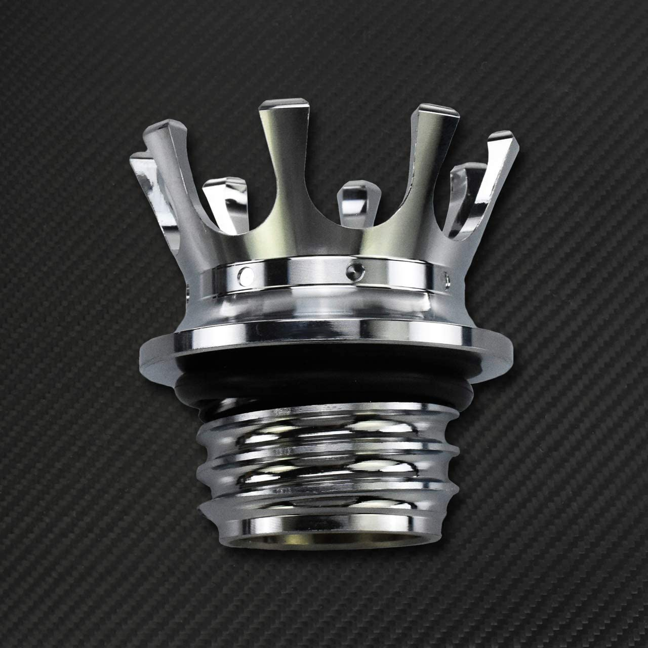 YHMTIVTU Motorcycle Fuel Tank Cap Aluminum King Crown Gas Cap Right-hand Thread Fit For for Harley Sportster XL 883 1200 48 Dyna Road King Softail Chrome