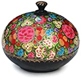 SouvNear 3.6 inches Floral Round Fashion Jewelry Storage Keepsake Trinket Box – Handmade in Paper Mache-Unique Decorative Gift Box- Perfect Home Décor Item from India