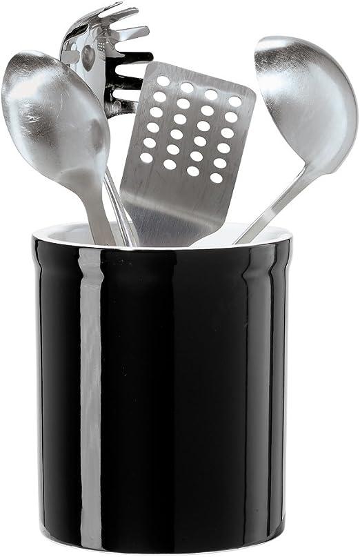 Oggi Ceramic Utensil Holder, Black
