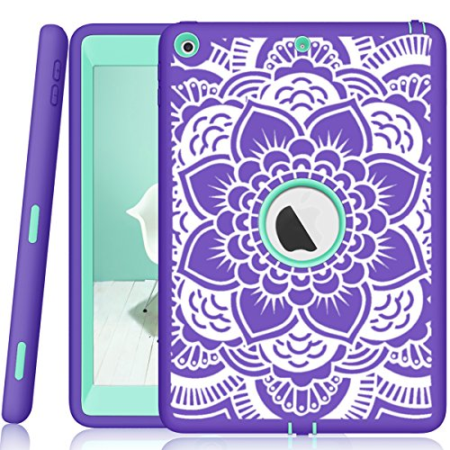 (iPad 5th/6th Generation Case, Hocase Heavy Duty Shock Absorbent Rubber+Hard Plastic Dual Layer Protective Case w/Mandala Floral Print and Kickstand for iPad 9.7 2018/2017 - Purple/Teal)