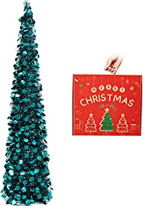 N&T NIETING Christmas Tree, 5ft Collapsible Pop Up Peacock Blue Tinsel Christmas Tree Coastal Christmas Tree for Holiday Xmas Decorations, Home Display, Office Decor, Fireplace