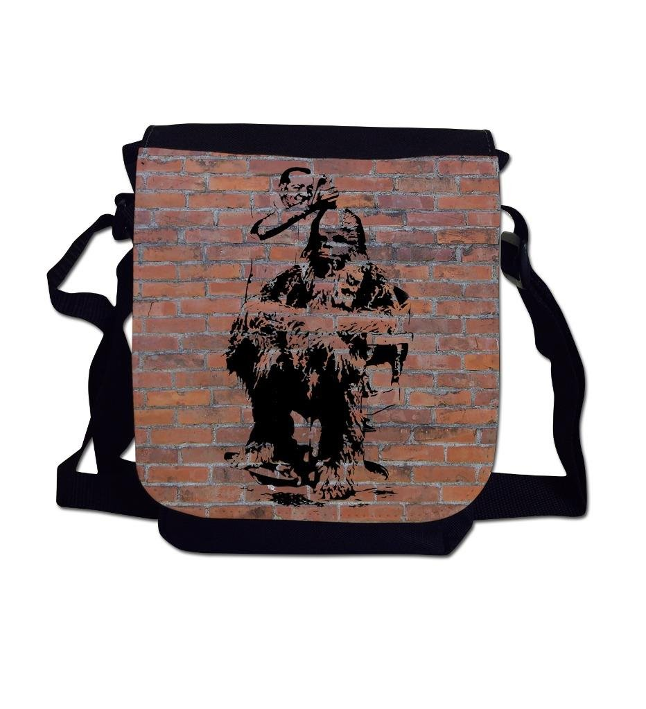Chewbacca Haircut Banksy Graffiti Art Brick Wall Sublimation Printed Mini Reporter Shoulder Bag