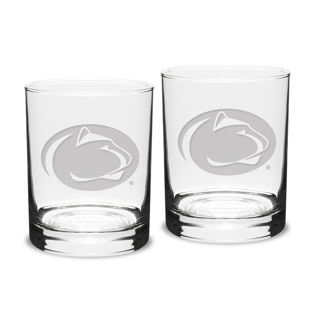 NCAA Penn State Nittany Lions Adult Set of 2 - 14 oz Double Old Fashion Glasses Deep Etch Engraved, One Size, Clear