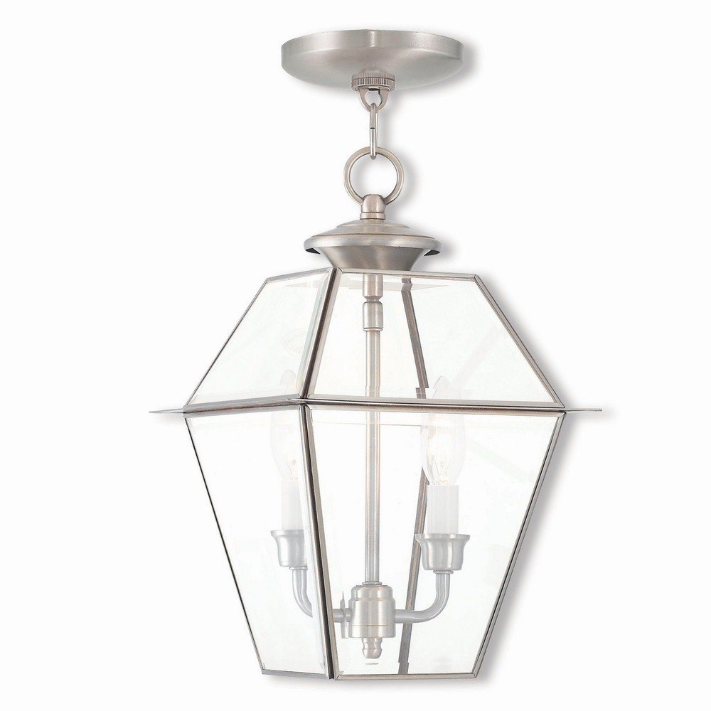 Livex Lighting 2285-91 Westover 2 Light BN Outdoor Chain-Hang Lantern, Brushed Nickel