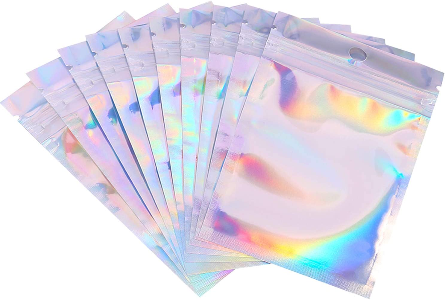 200 Pack Resealable Smell Proof Bags,Rocutus Foil Mylar Ziplick Bags,Flat Metallic Mylar Foil Bags for Party Favor Food Storage (14 x 20 cm/ 5.5 x 7.87 Inches)