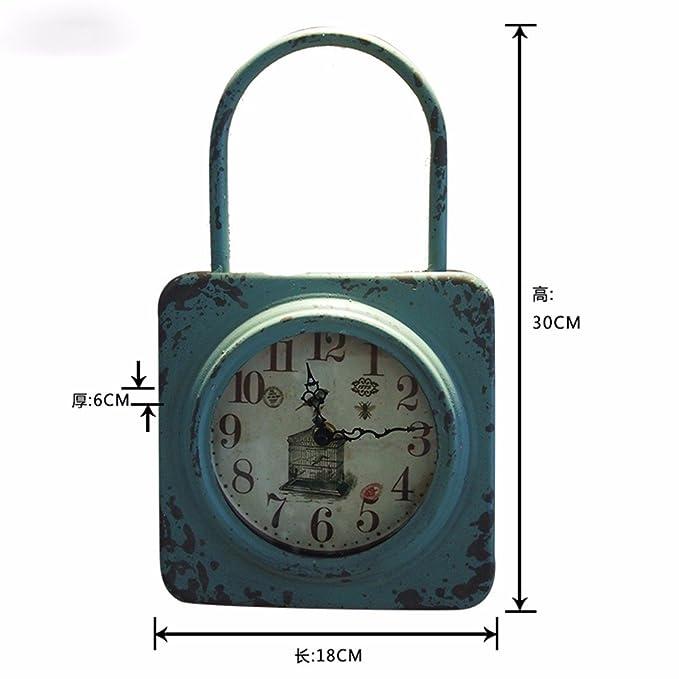 Komo silencioso Moderno Decoración Adorno para Hogar Reloj de Pared de Hierro Retro Creativa de Segunda Mano no silenciar el Reloj Digital: Amazon.es: Hogar