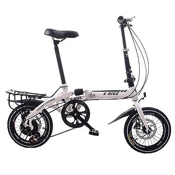 LETFF Bicicleta Plegable para Adultos de 16 Pulgadas para Hombre y Mujer, Blanco