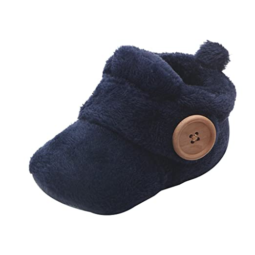 409c9d0e4302e Axinke Winter Soft Warm Cute Baby Boys Girls Newborn Infant Shoes with  Button Closure