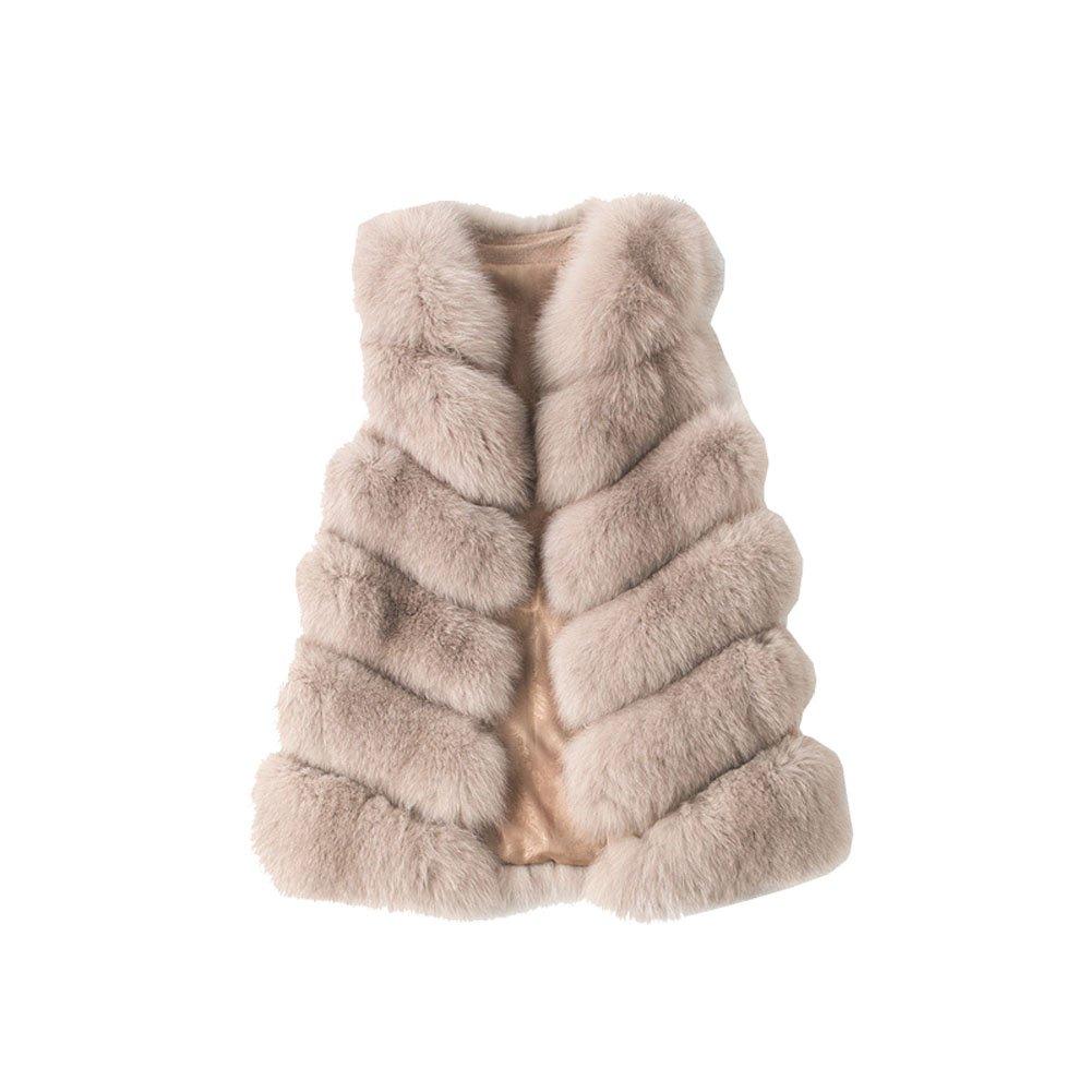 Jsix Women's Fox Fur Vest Gilet Outwear Waistcoat (M, Light-coffee)