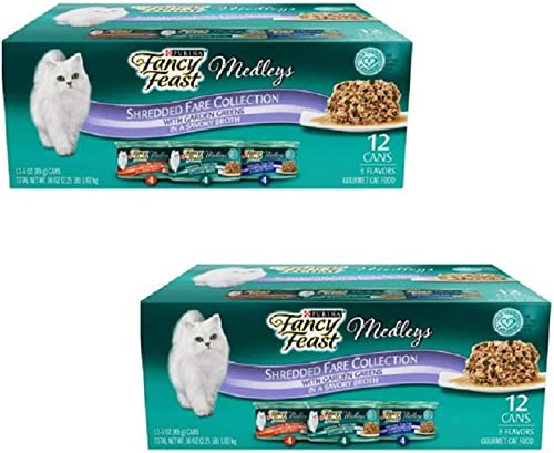Purina Fancy Feast Medleys in Sauce Adult Wet Cat Food – 24 3 oz. Cans 3 Flavor Variety Pack, 3 oz Pack of 24