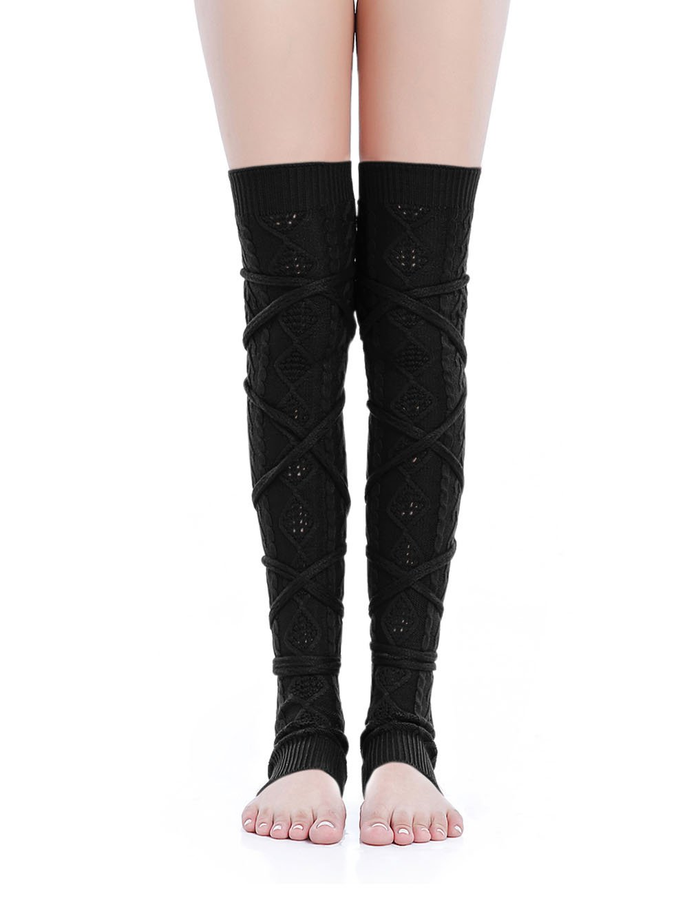 Kimberly's Knit Women Thigh High Tie Cable Knit Crochet Long Boot Leg Warmers (XS-M, black)