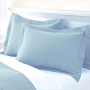 ADASMILE A & S Paisley Cotton Quilted Pillow Sham Floral Printed Pillow Cover Standard Size Pillow Cases Set of 2 Decorative Pillow Covers,Light Blue
